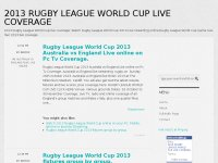 2013 RUGBY LEAGUE WORLD CUP LIVE COVERAGE