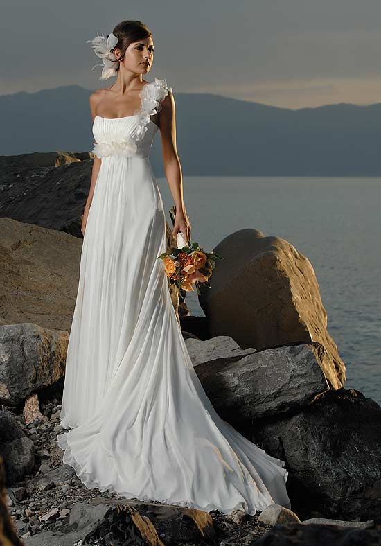 you want to go for column style or empire style beach wedding dresses