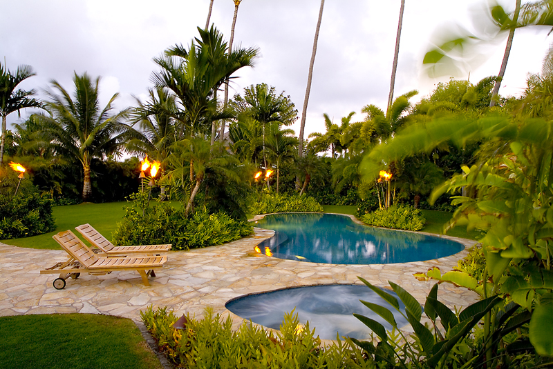 Tropical Backyard Pool Landscape Ideas