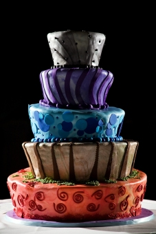 colored wedding cake